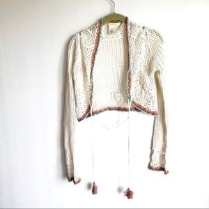sarsaprilla Sweaters - Sarsaparilla Crocheted Boho Shrug Cream Cropped